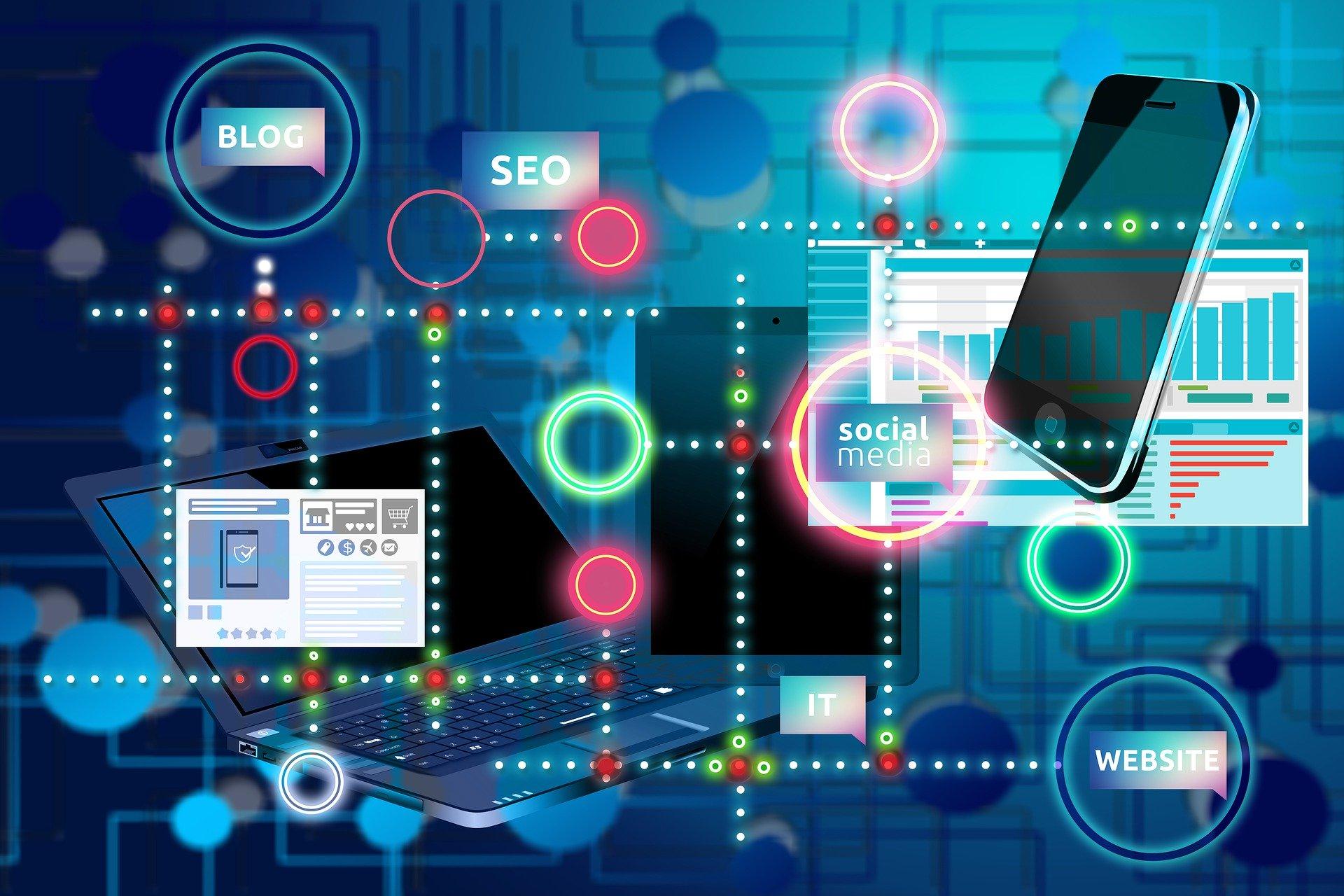 Representación de Internet a través de un smartphone, URL y un blog