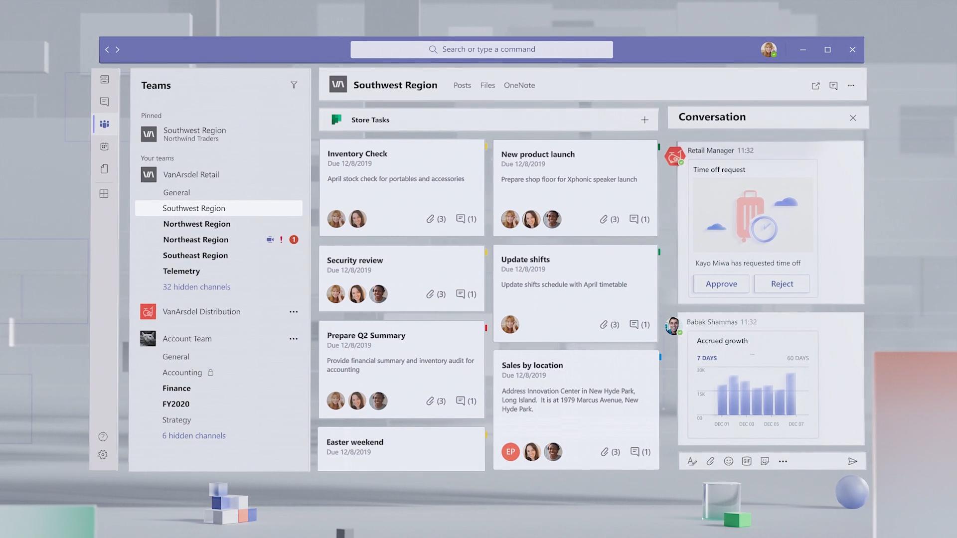 Interfaz en bloques de Microsoft Teams