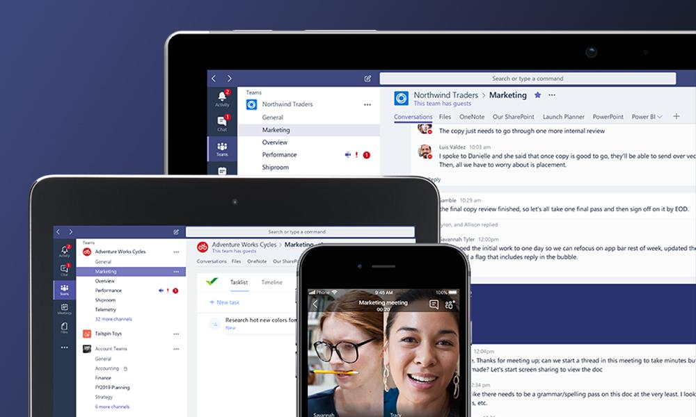 Microsoft Teams en PC, tablet y smartphone.