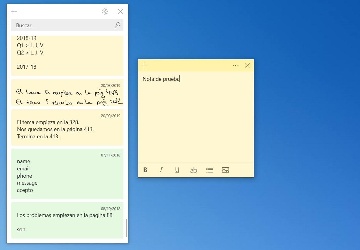 Aplicación de Notas rápidas de Windows 10, que emula a los antiguos post-it.
