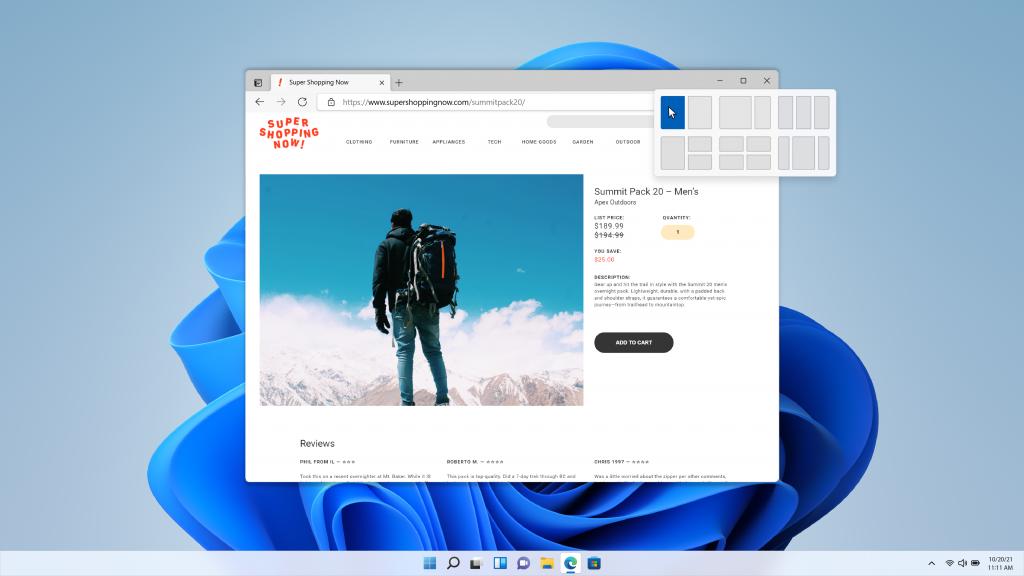 Snap Assist de Windows 11 con combinaciones de varias ventanas para pantallas ultrapanorámicas.