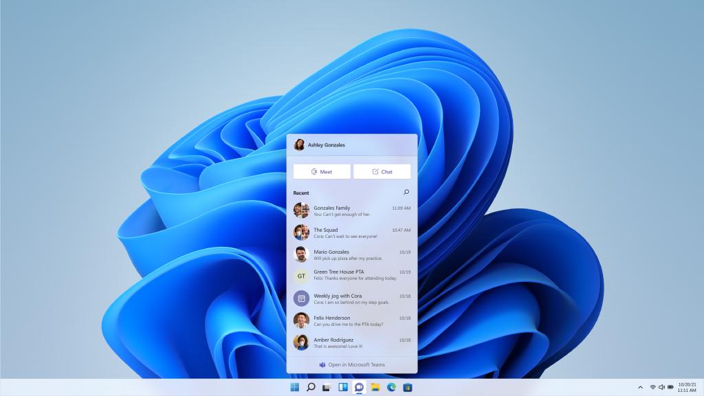 Desplegable de Microsoft Teams integrado en la barra de tareas de Windows 11.